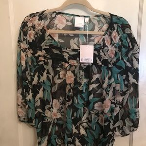 Lauren Conrad tropical floral size L NWT blouse